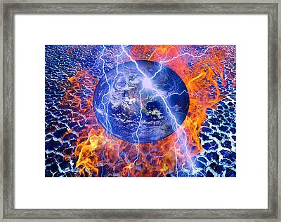 S.o.s The Earth Framed Print by An hy Quach hong