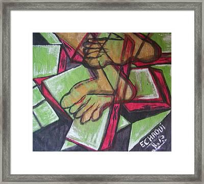 Souffrance 01 2007 Framed Print by Halima Echaoui