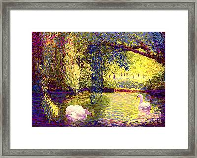 Swans, Soul Mates Framed Print by Jane Small