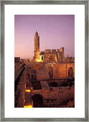 Sound And Light Show At Jerusalem City Framed Print by Richard Nowitz