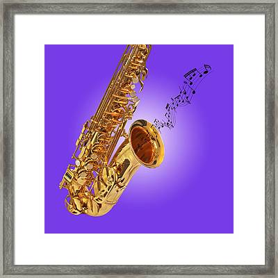 Sounds Of The Sax In Purple Framed Print by Gill Billington