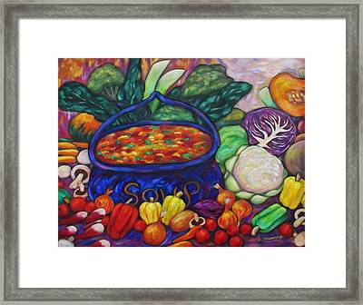Soup In A Blue Pot Framed Print