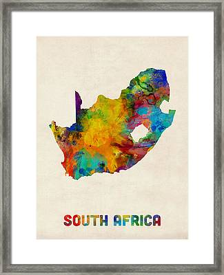 South Africa Watercolor Map Framed Print by Michael Tompsett