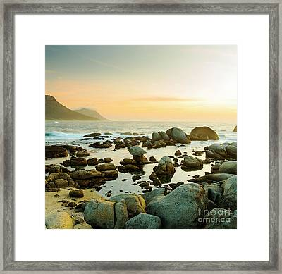 South African Ocean Sunset Framed Print by Tim Hester