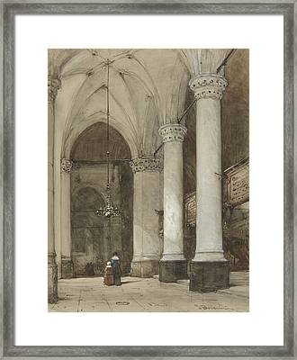 South Aisle Of The Grote Kerk In The Hague, With Seventeenth-century Figures Framed Print