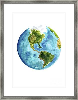 Planet Earth, South America Illustration, Watercolor World Map Painting Framed Print by Joanna Szmerdt