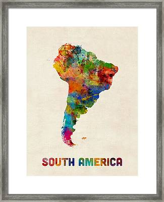 South America Watercolor Map Framed Print by Michael Tompsett