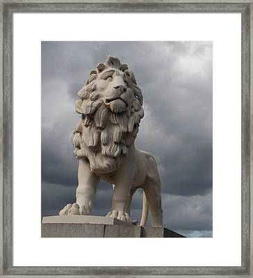 South Bank Lion.  Framed Print by Christopher Rowlands