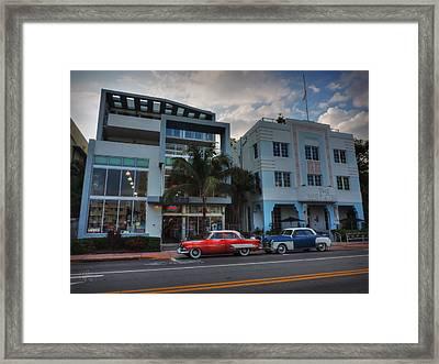 South Beach - Collins Avenue 002 Framed Print by Lance Vaughn