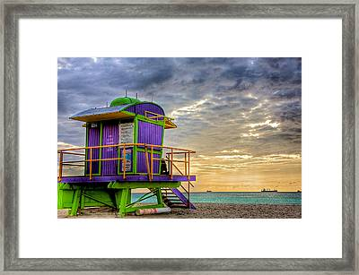 South Beach Dawn Framed Print