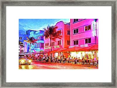 South Beach Neon Framed Print by Dennis Cox WorldViews