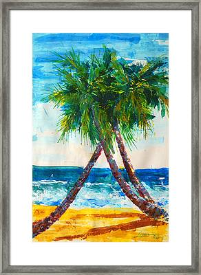Framed Print featuring the painting South Beach Palms by Thomas Lupari