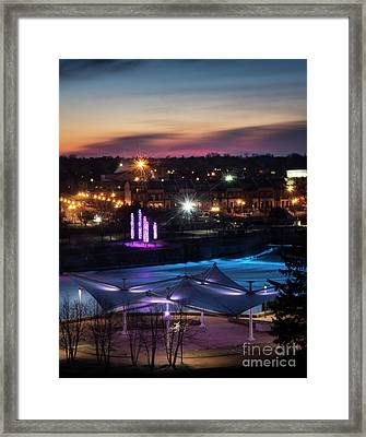 South Bend River Sunrise Framed Print