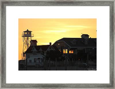 South Boardwalk Sunset Framed Print by Robert Banach