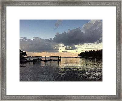 South Carolina Lake Murray Surreal Clouds Pier Beach Scene Framed Print