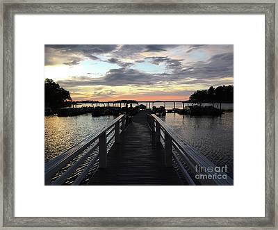 South Carolina Lake Murray Surreal Coastal Beach Pier Bridge Walkway - Surreal Sunset Lake Murray  Framed Print