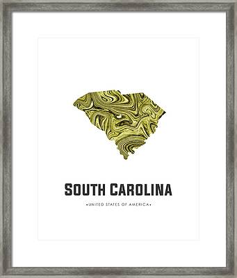 South Carolina Map Art Abstract In Olive Framed Print