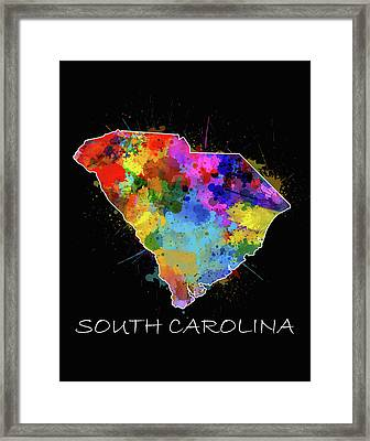 South Carolina Map Color Splatter 2 Framed Print