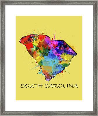 South Carolina Map Color Splatter 4 Framed Print