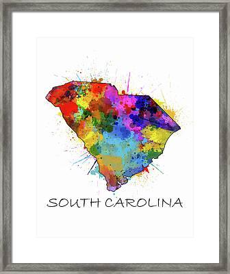 South Carolina Map Color Splatter Framed Print