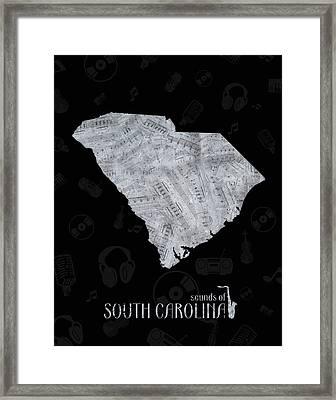 South Carolina Map Music Notes 2 Framed Print