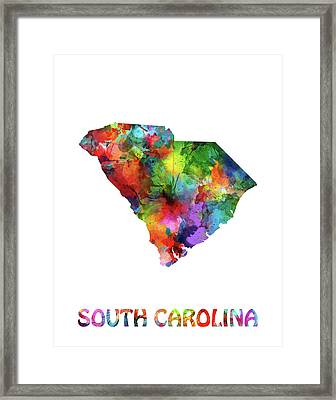 South Carolina Map Watercolor Framed Print