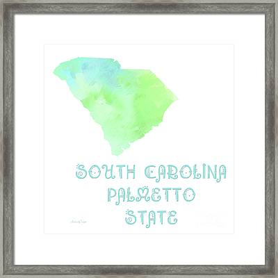 South Carolina - Palmetto State - Map - State Phrase - Geology Framed Print by Andee Design
