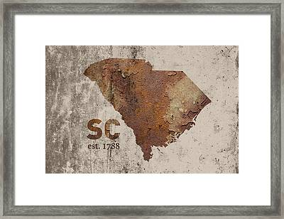 South Carolina State Map Industrial Rusted Metal On Cement Wall With Founding Date Series 010 Framed Print by Design Turnpike