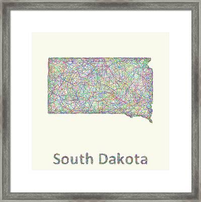 South Dakota Line Art Map Framed Print by David Zydd
