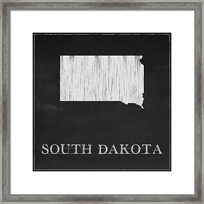 South Dakota Map Framed Print by Finlay McNevin