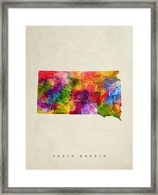 South Dakota State Map 02 Framed Print by Aged Pixel