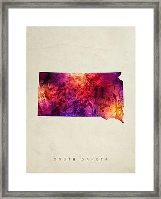 South Dakota State Map 05 Framed Print by Aged Pixel