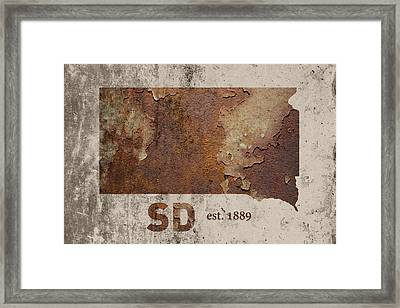 South Dakota State Map Industrial Rusted Metal On Cement Wall With Founding Date Series 036 Framed Print by Design Turnpike