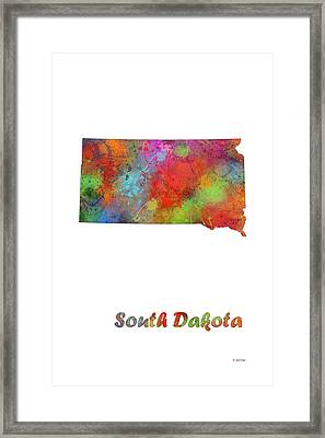 South Dakota State Map Framed Print by Marlene Watson