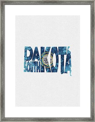 South Dakota Typographic Map Flag Framed Print