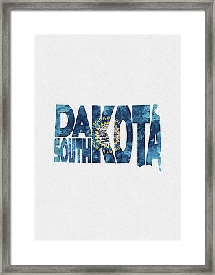 South Dakota Typographic Map Flag Framed Print