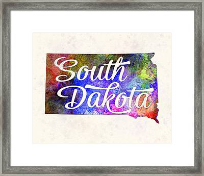 South Dakota Us State In Watercolor Text Cut Out. Framed Print by Pablo Romero