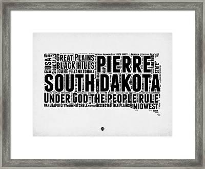 South Dakota Word Cloud 1 Framed Print by Naxart Studio