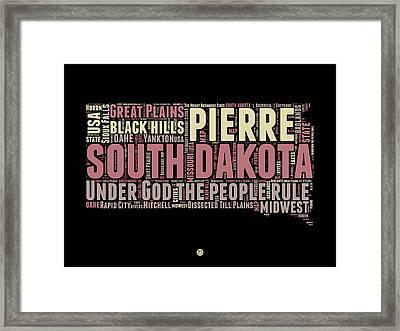 South Dakota Word Cloud 2 Framed Print by Naxart Studio