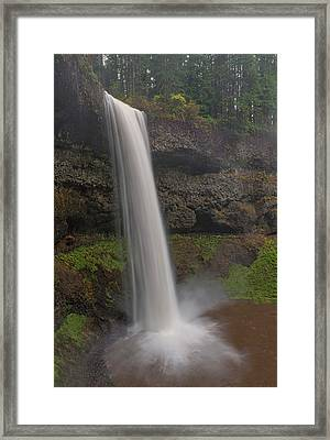 South Falls In The Rain Framed Print by Loree Johnson