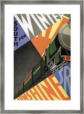 British Go South For Winter Sunshine Vintage Travel C. 1934 Framed Print