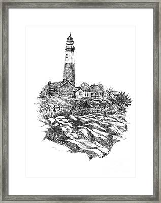 South Fork Lighthouse L I N Y  Bw Framed Print