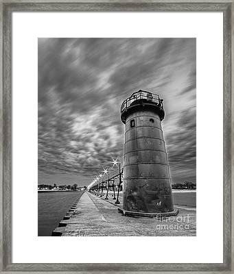 South Haven Light In Black And White Framed Print by Twenty Two North Photography