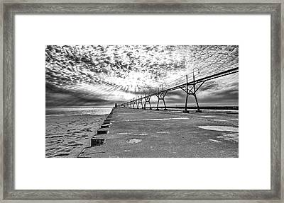 South Haven Pier Wide Angle Framed Print