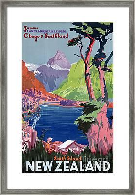 South Island New Zealand Vintage Poster Restored Framed Print