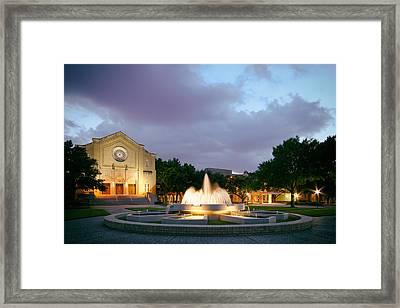 South Main Baptist Church At Twilight - Midtown Houston Texas Framed Print