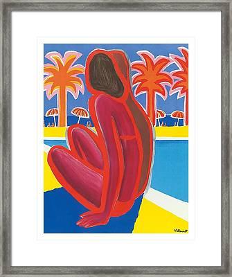 South Of France French Riviera Vintage Travel Poster By Bernard Villemot Framed Print