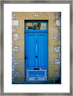 South Of France Rustic Blue Door  Framed Print by Georgia Fowler