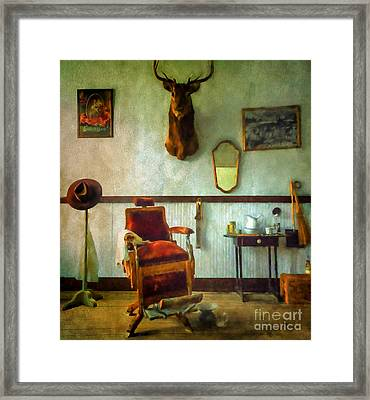 South Pass City Barber Shop Framed Print by Priscilla Burgers