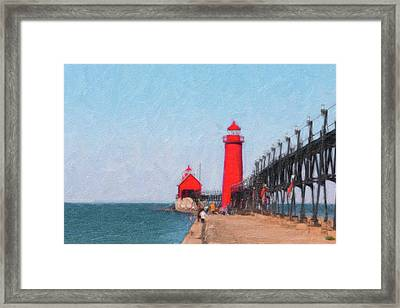 South Pier Of Grand Haven Framed Print